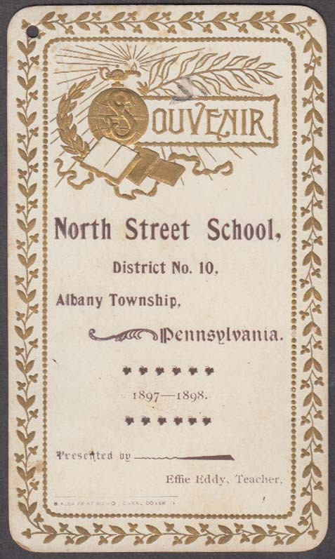 Image for North Street School Albany Township PA souvenir card 1897-1898
