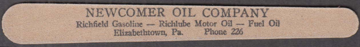 Image for Newcomer Oil Company Richfield Elizabethtown PA advertising nailfile 1940s