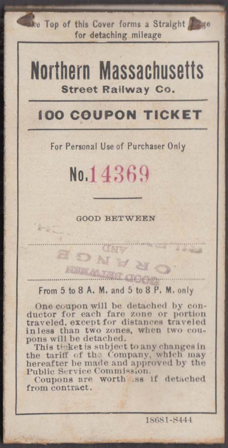 Image for Northern Massachusetts Street Railway 100-Coupon ticket book ca 1910