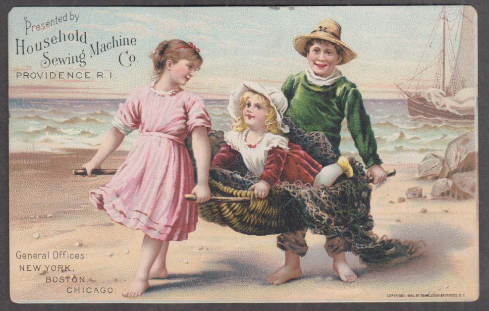 Image for Household Sewing Machine trade card 1895 kids carry child in fisherman's basket