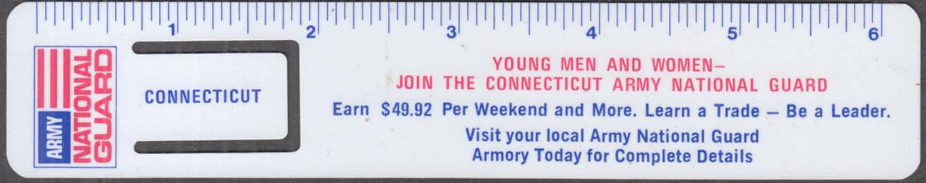 Image for Connecticut Army National Guard plastic recruiting ruler / bookmark 1960s