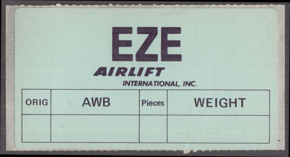 Image for Airlift International Airline label EZE Buenos Aires ca 1980s