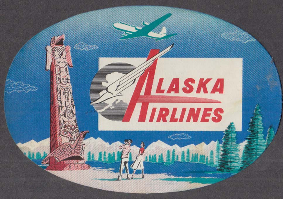 Image for Alaska Airlines baggage sticker 1950s