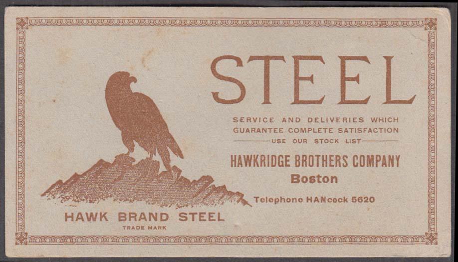 Image for Hawkridge Brothers Hawk Brand Steel advertising blotter Boston ca 1930s