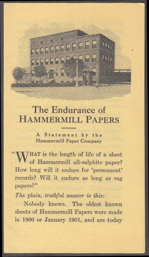 Image for The Endurance of Hammermill Papers folder Erie PA ca 1940s