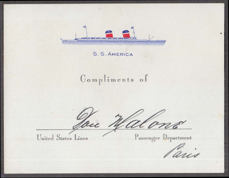 Image for United States Lines S S America Compliments of card Paris 1950
