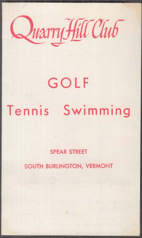 Quarry Hill Club Golf Scorecard South Burlington VT 1968