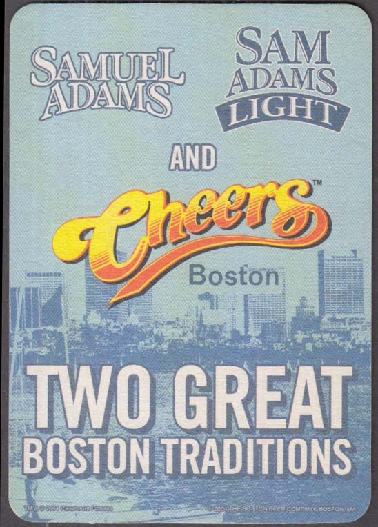 Image for Samuel Adams / Light Beer Cheers TV Show 2 Great Boston Traditions coaster 2004