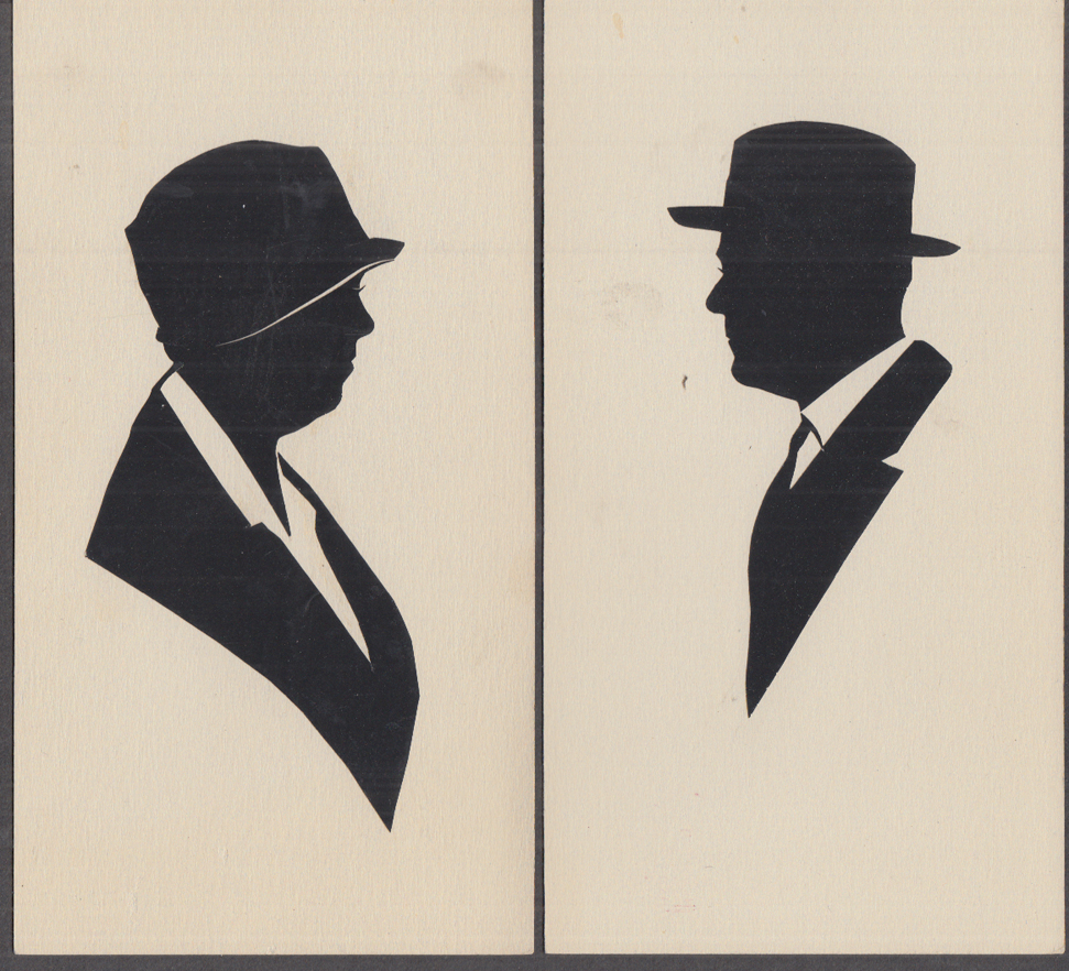 Eleanor & Franklin D Roosevelt paper silhouettes ca 1930s