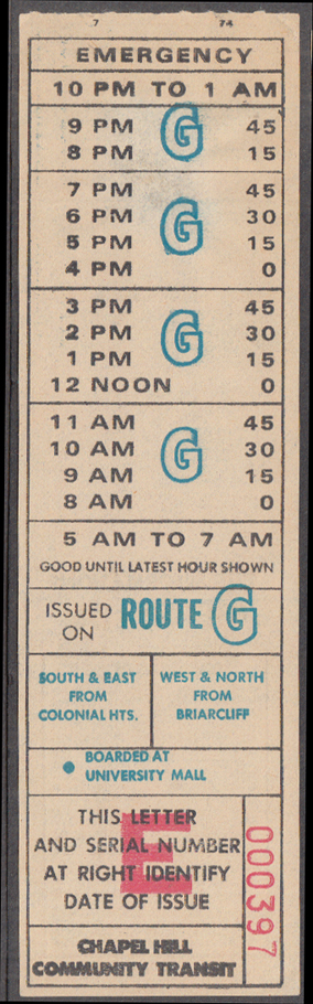 Image for Chapel Hill Community Transit NC bus transfer 1974 Route G