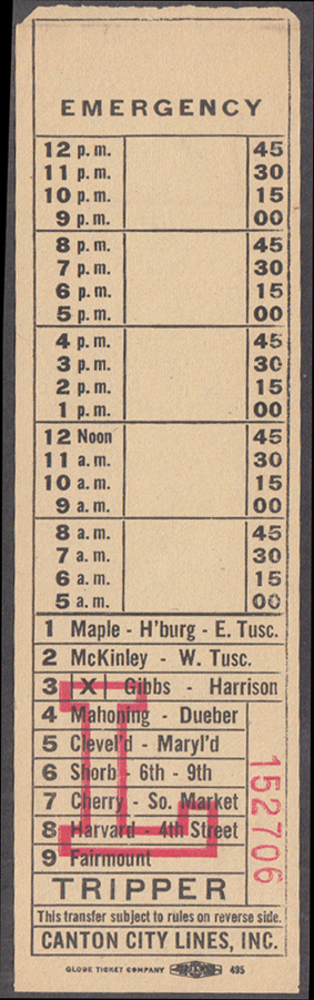 Image for Canton City Lines OH bus transfer Route L Tripper 1940