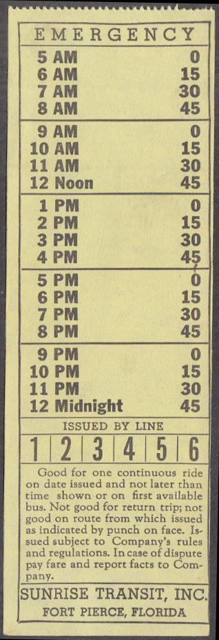 Image for Sunrise Transit Fort Pierce FL bus transfer unused undated