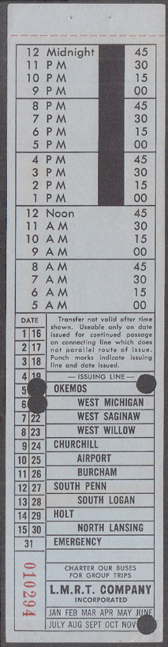 Image for L M R T Lansing Railway Transit bus transfer MI undated, punched