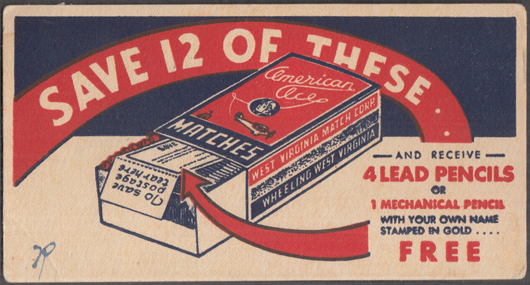 Image for West Virginia America Ace Matches advertising blotter ca 1930s