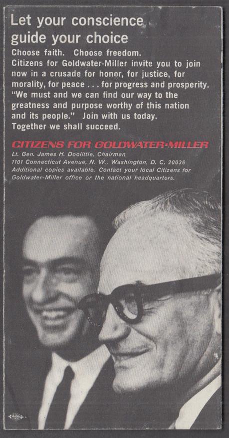 Citizens for Goldwater-Miller vs LBJ campaign folder 1964