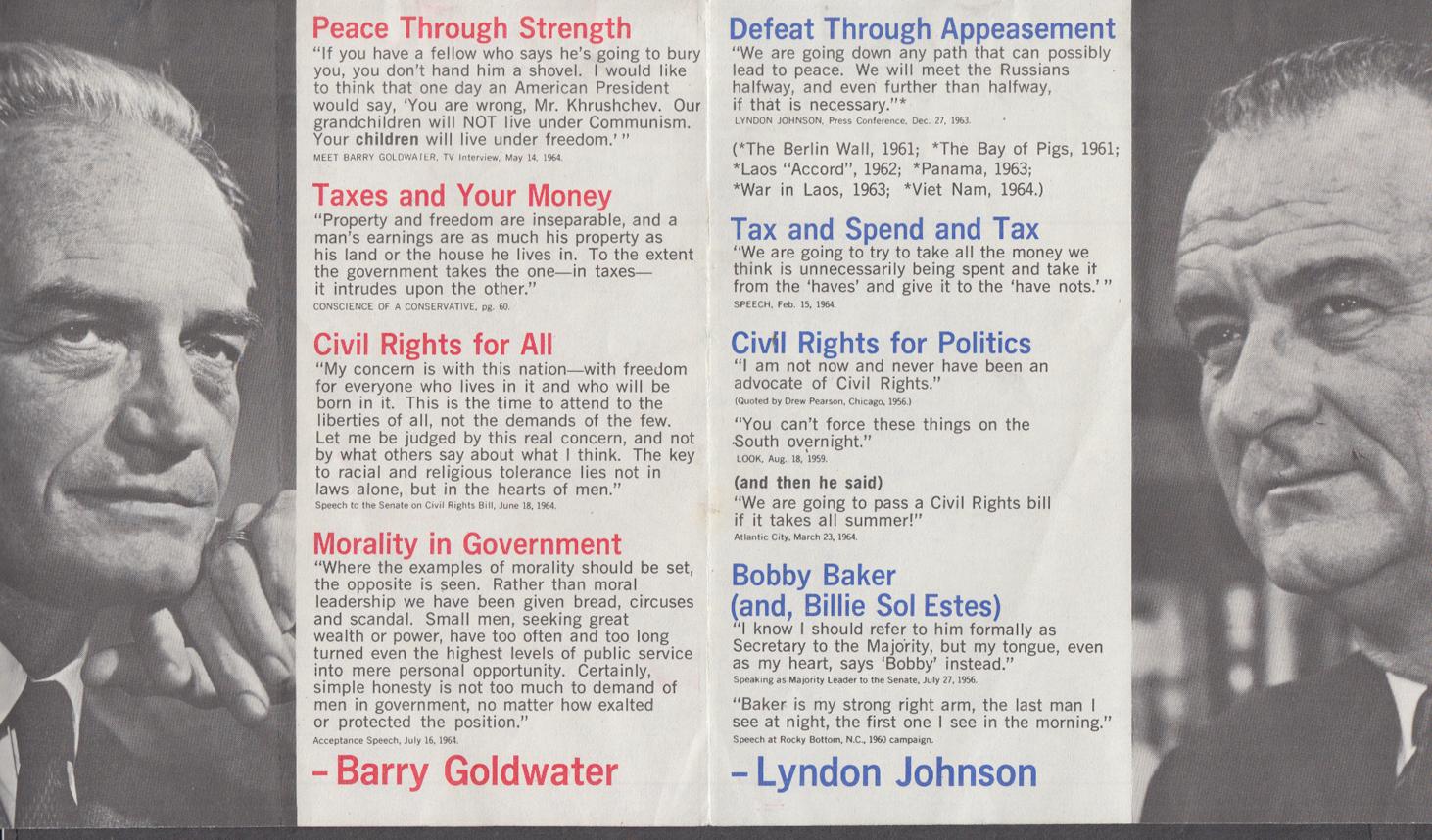 Image for Citizens for Goldwater-Miller vs LBJ campaign folder 1964