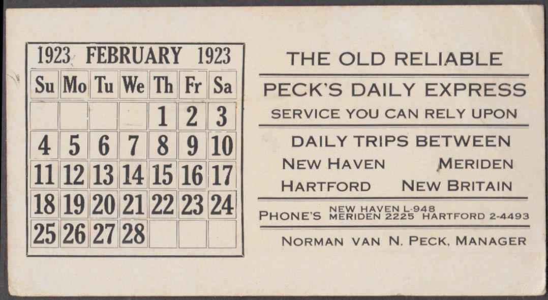 Image for Peck's Daily Express calendar blotter 1923 Meriden-Hartford-New Haven +