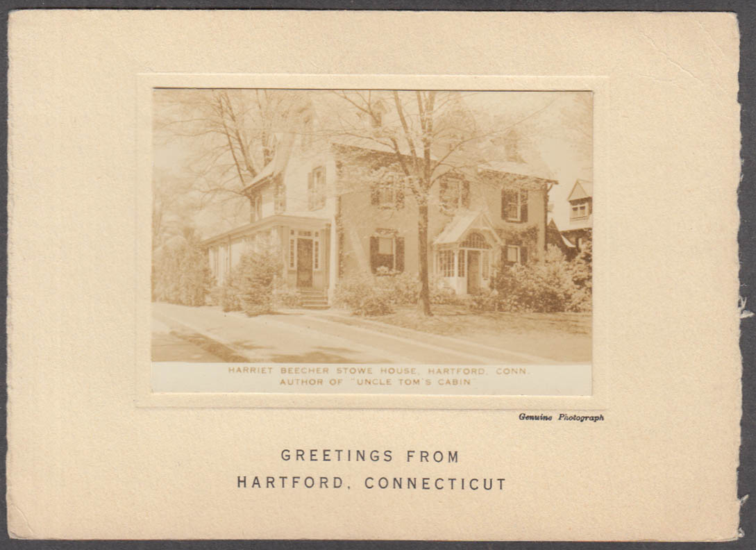 Image for Harriet Beecher Stowe House real photo on card Hartford CT 1936 Mark Twain +