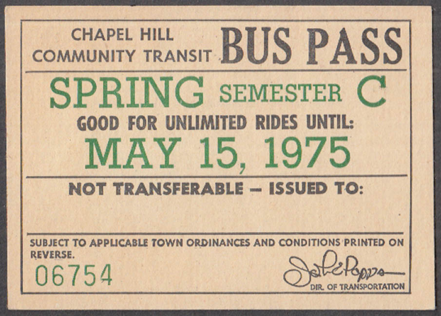 Image for Chapel Hill Community Transit Spring Semester Bus Pass 1975 NC