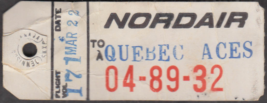 Image for Nordair Airlines flown baggage tag TQB Quebec City 1960s
