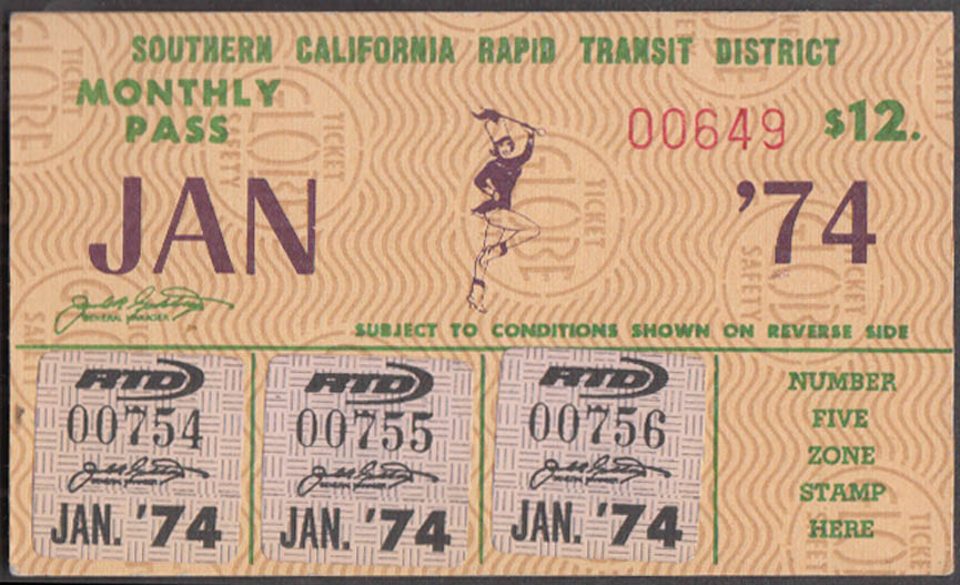 Image for Southern California Rapid Trasit District Monthly Pass 1 1974