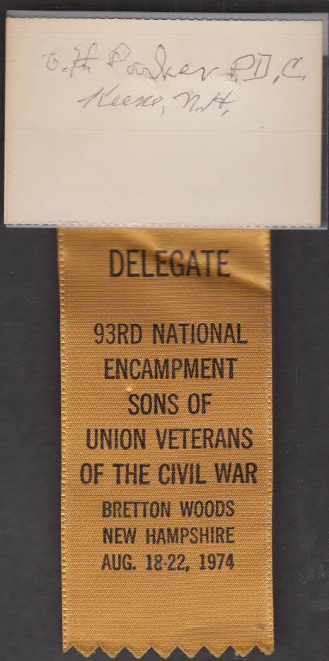 Image for C H Parker Delegate 93rd Sons of Union Veterans Encampment Bretton Woods 1974