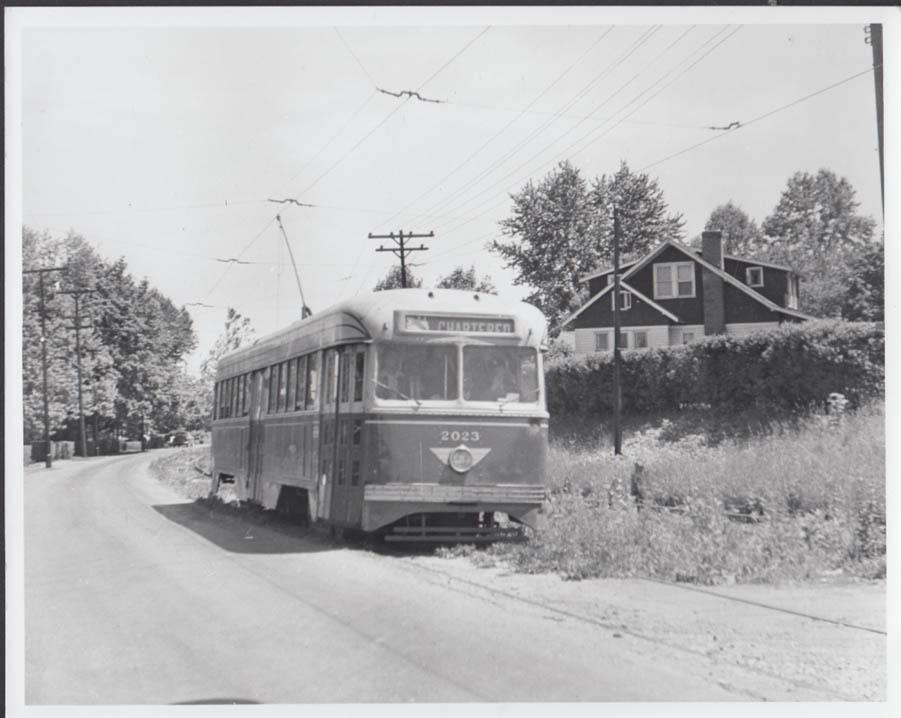 Philadelphia PCC streetcar #2023 Willow Grove Line photo 6/18 1950 #1