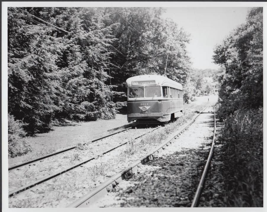 Philadelphia PCC streetcar #2023 Willow Grove Line photo 6/18 1950 #2