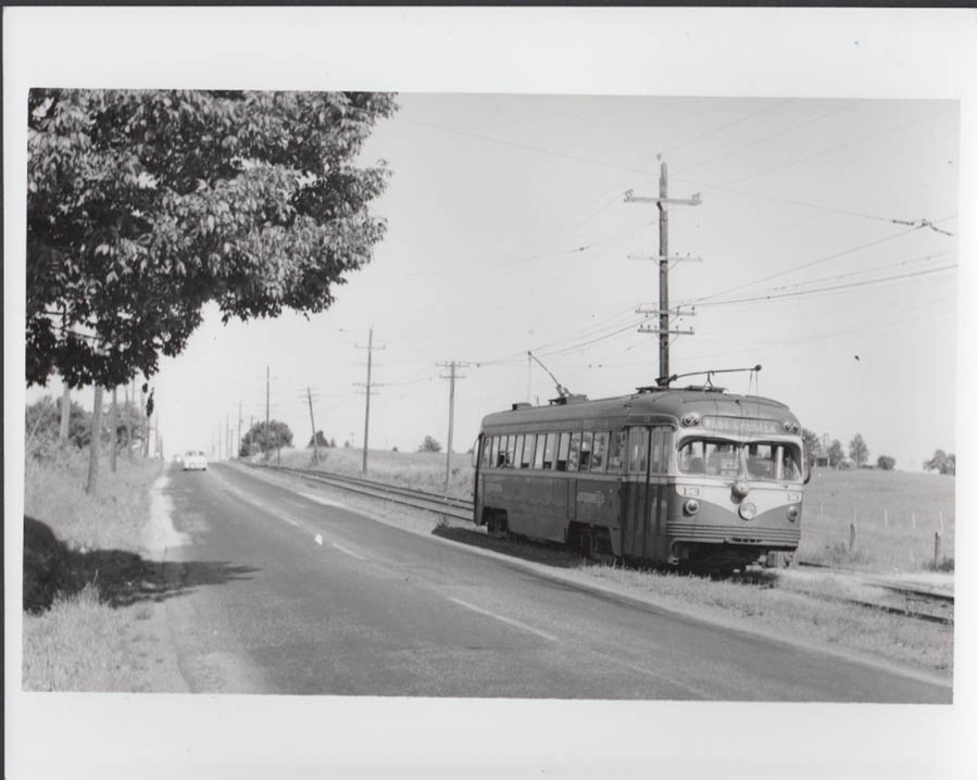 Red Arrow Lines streetcar #13 West Chester route Edgemont PA photo 1954