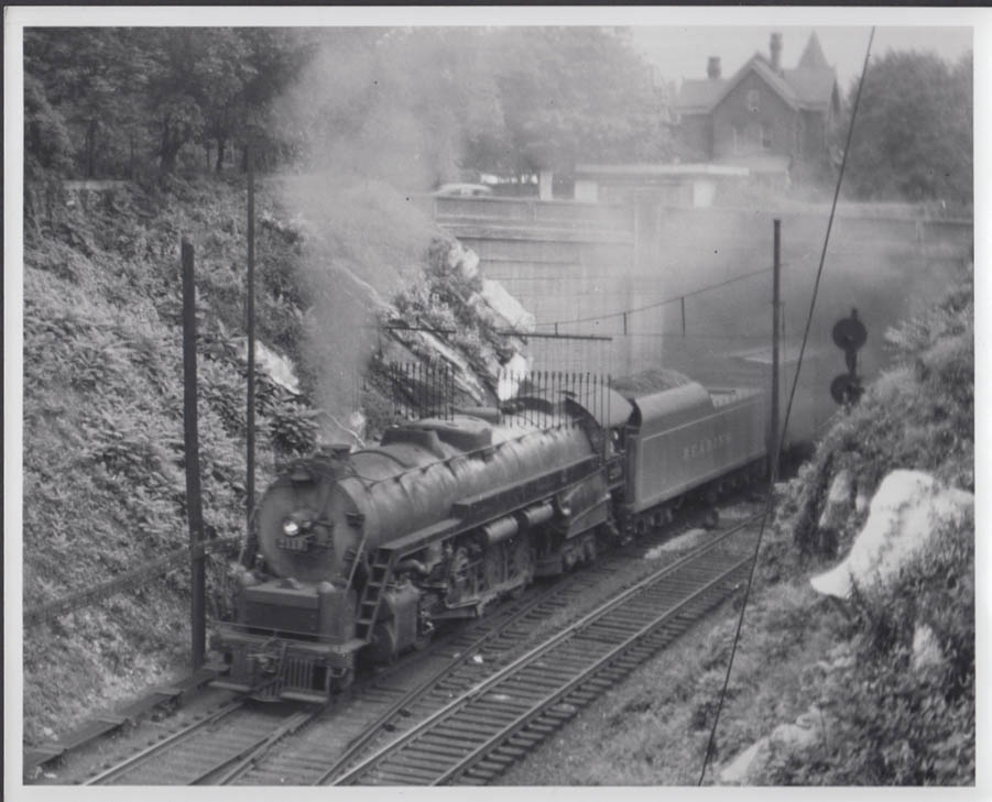 Reading Railroad 4-8-4 steam locomotive #2119 freight train photo undated