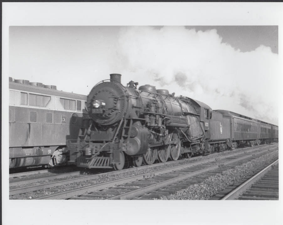 Jersey Central Railroad 4-6-2 #822 & passenger train photo Roselle NJ 1948