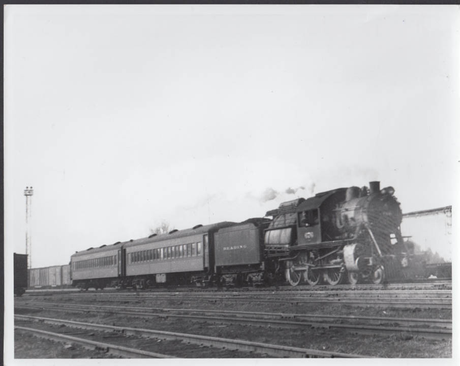 Reading Railroad 4-6-0 Camelback with 2-coach train photo undated