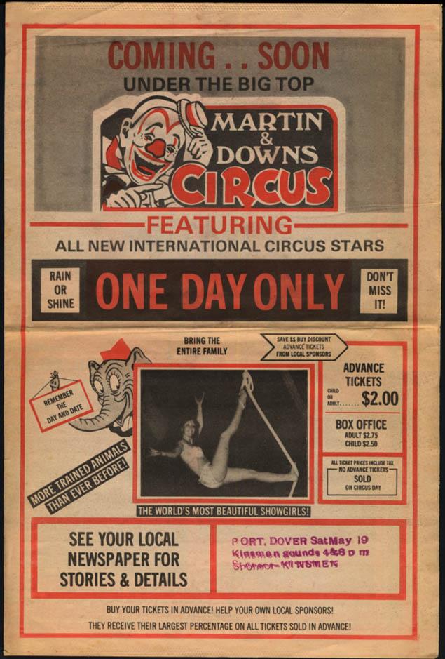 Martin & Downs Circus newsprint tabloid flyer Grande Pointe ON 1950s