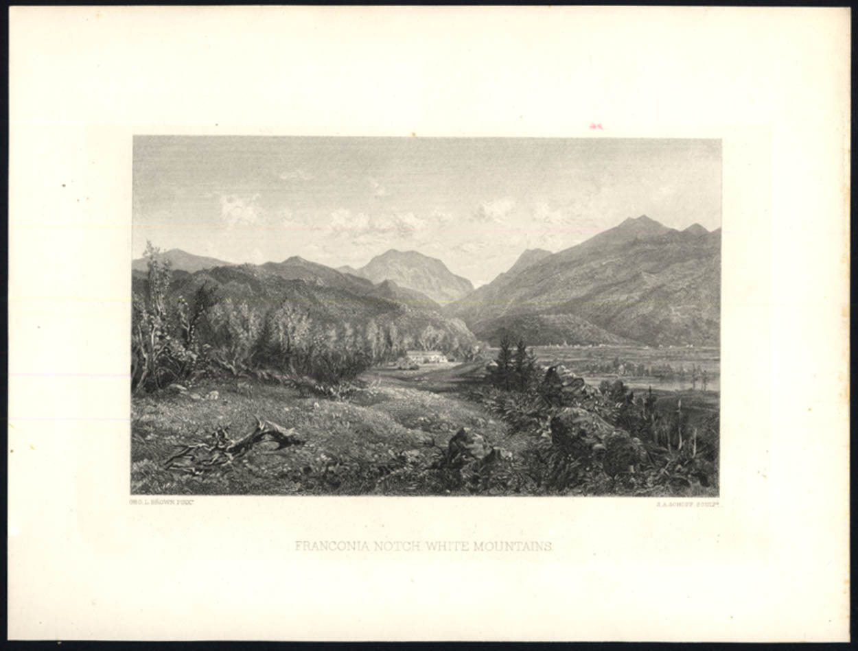 Franconia Notch New Hampshire 1887 steel engraving by George L Brown