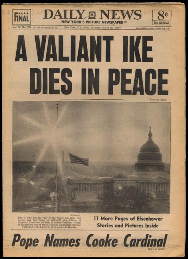 New York DAILY NEWS 3/29 1969 Ike Dies; Cooke named Cardinal; Alcindor to Bucks