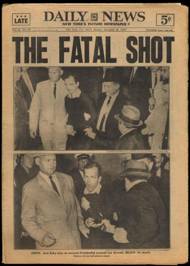 New York DAILY NEWS 11/25 1963 Ruby Kills Oswald The Fatal Shot
