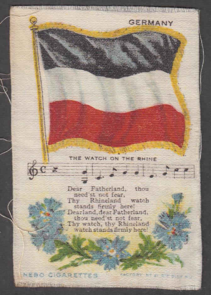 German Flag The Watch on the Rhine Nebo Cigarettes cigarette silk ca 1910 #1