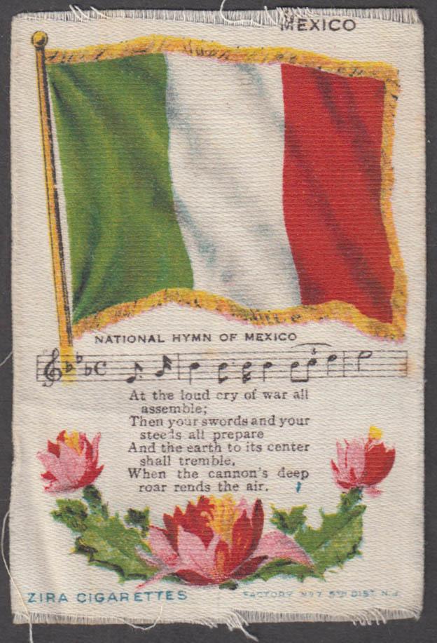 Mexico Flag & National Hymn Nebo Cigarettes cigarette silk ca 1910