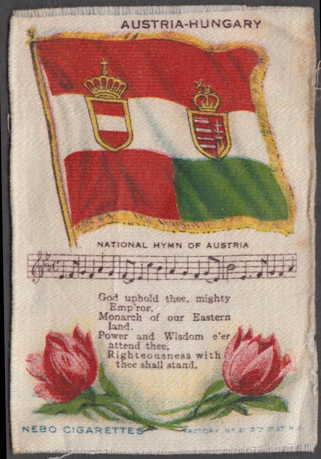 Austria-Hungary Flag & National Hymn Nebo Cigarettes cigarette silk ca 1910