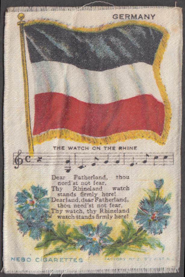 German Flag The Watch on the Rhine Nebo Cigarettes cigarette silk ca 1910 #2
