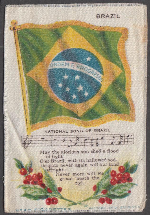 Brazil Flag & National Song Nebo Cigarettes cigarette silk ca 1910