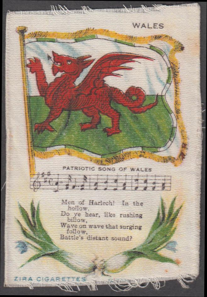 Wales / Welsh Flag & Patriotic Song Nebo Cigarettes cigarette silk ca 1910