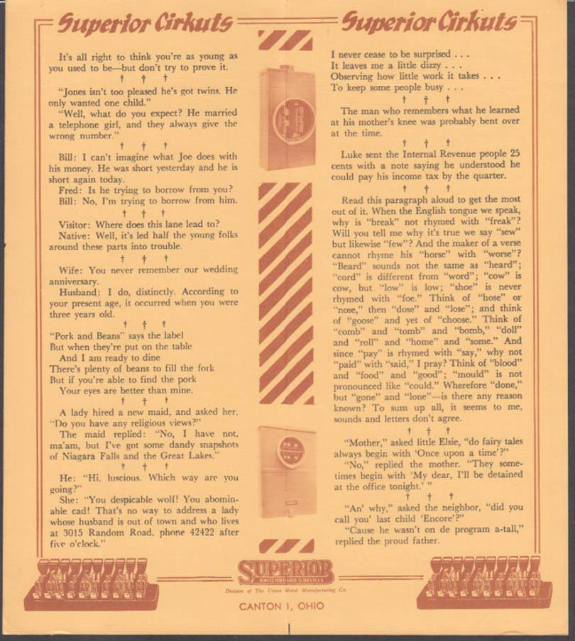 Superior Cirkuts Switchboard Pin-up calendar folder 5-6 1965 short skirt bride