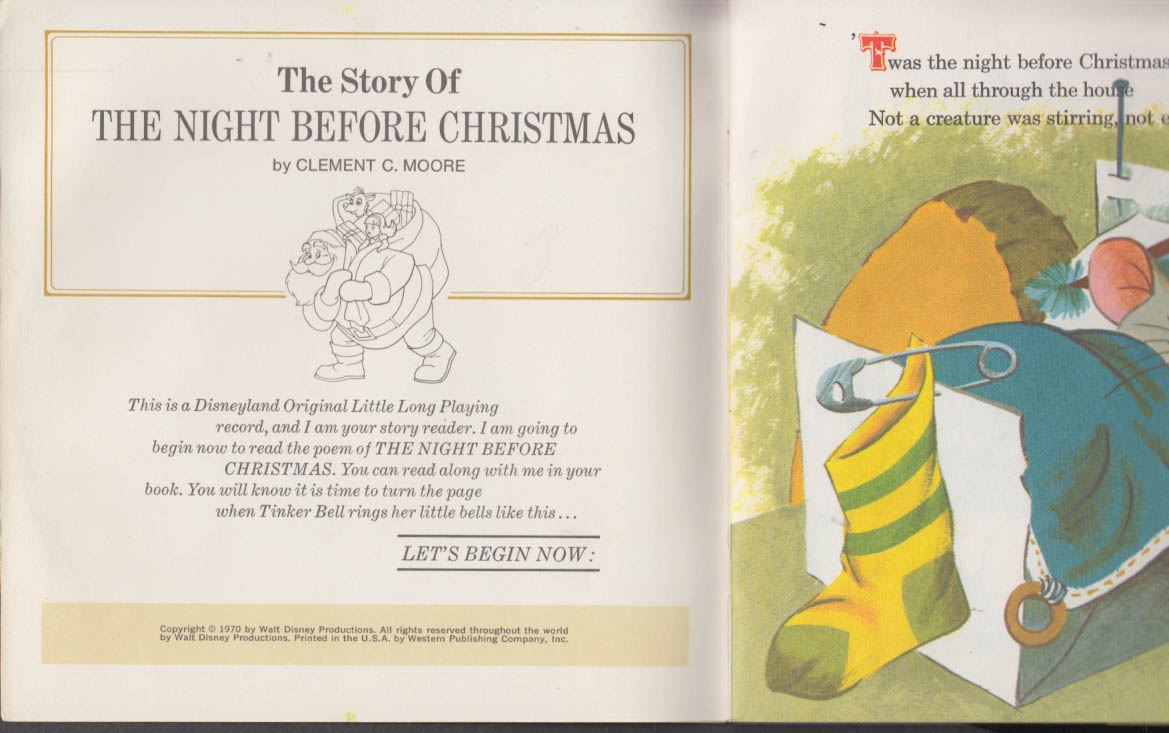 The Story of the Night Before Christmas Disneyland Record & storybook 1970