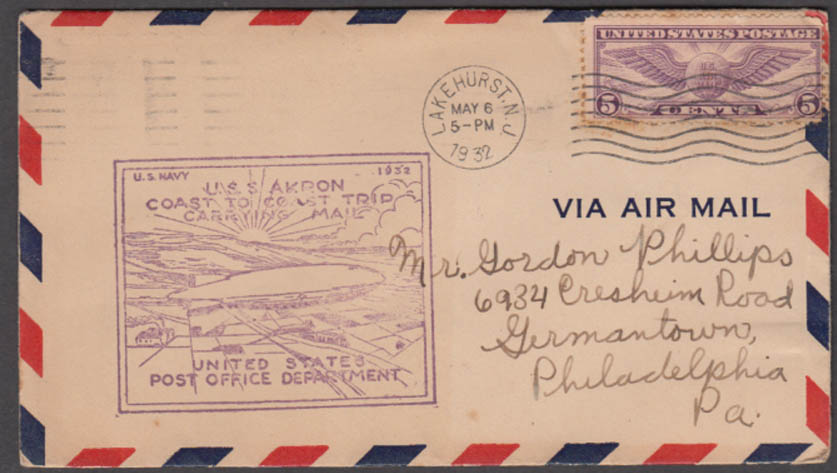 Airship USS Akron Coast to Coast Flight Carrying Mail cachet cover 5/6-8 1932
