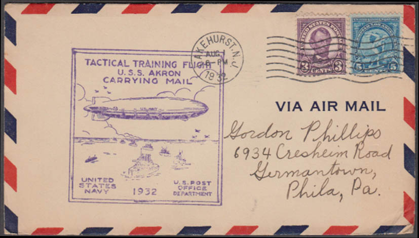 Airship USS Akron Tactical Training Flight Carrying Mail cachet cover 8/1 1932