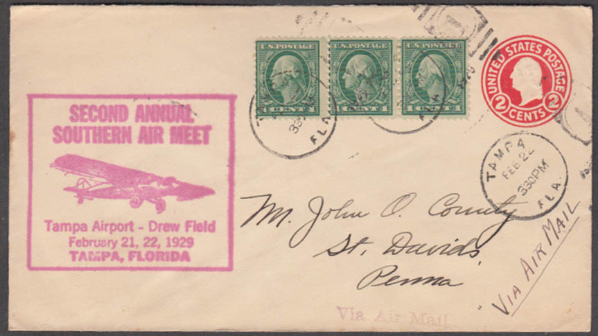 2nd Annual Southern Air Meet cachet cover 1929 Drew Field Tampa FL