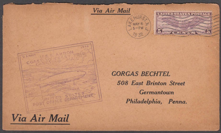 Airship USS Akron Coast to Coast Flight Carrying Mail cachet cover 5/6-7 1932