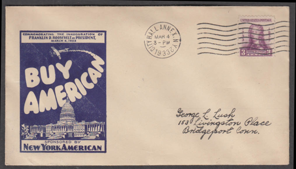 Image for FDR Inauguration Buy American New York American cachet cover 3/4 1933