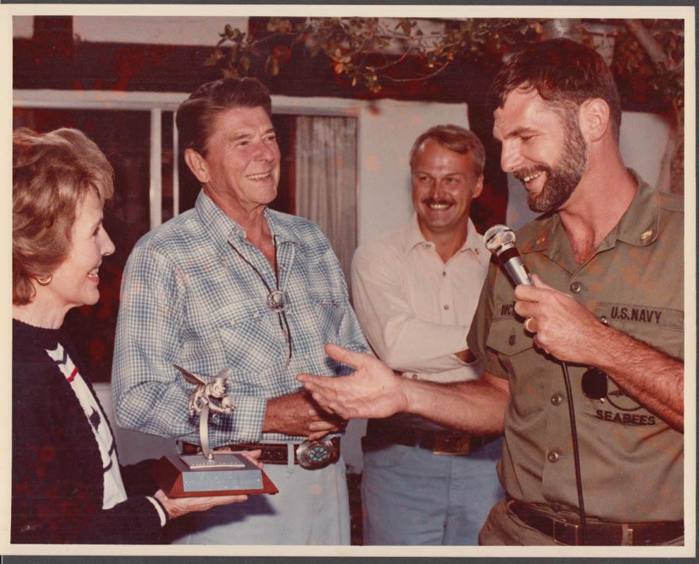 Ronald & Nancy Reagan Awarding SeaBees Trophy color photo 8/12 1981